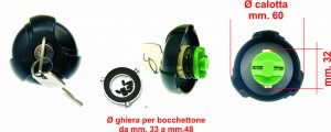 Fuel tank cap with ring nut for Piaggio Ciao SI Bravo