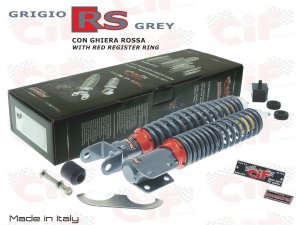 Front and rear shock absorbers kit gray RS for Vespa 125/150/200 PX PE