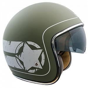 133L SAVANA GREEN rubber coated jet helmet