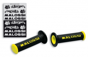 Pair of black grips with yellow Malossi logo