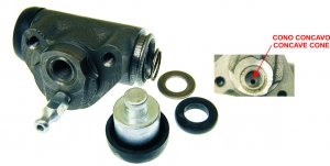 Rear brake cylinder (open rubber pads) for Ape 50 TM-FL-FL2-FL3 EUROPA-MIX 2T