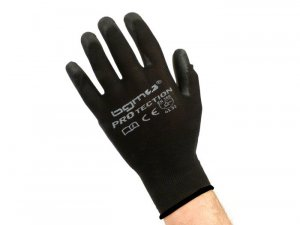 Work gloves in thin 100% nylon yarn with polyurethane coating
