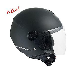 107A Florence black rubber covered jet helmet
