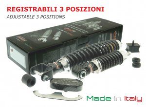 "LIMITED EDITION ""Carbon look"" front and rear shock absorbers kit for Vespa 50/90/125 Special-LR-Primavera"