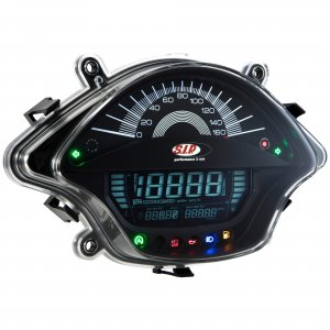 Speedometer and SIP tachometer with black background for Vespa 125/200/300 GTS-GT-GTS Super