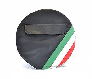 Black spare wheel cover with Italian flag (10'')