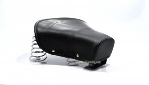 Complete front seat in black color with chromed springs for Vespa 125 VN1T-VU1T