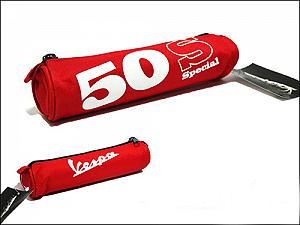 red cylindrical pencil case