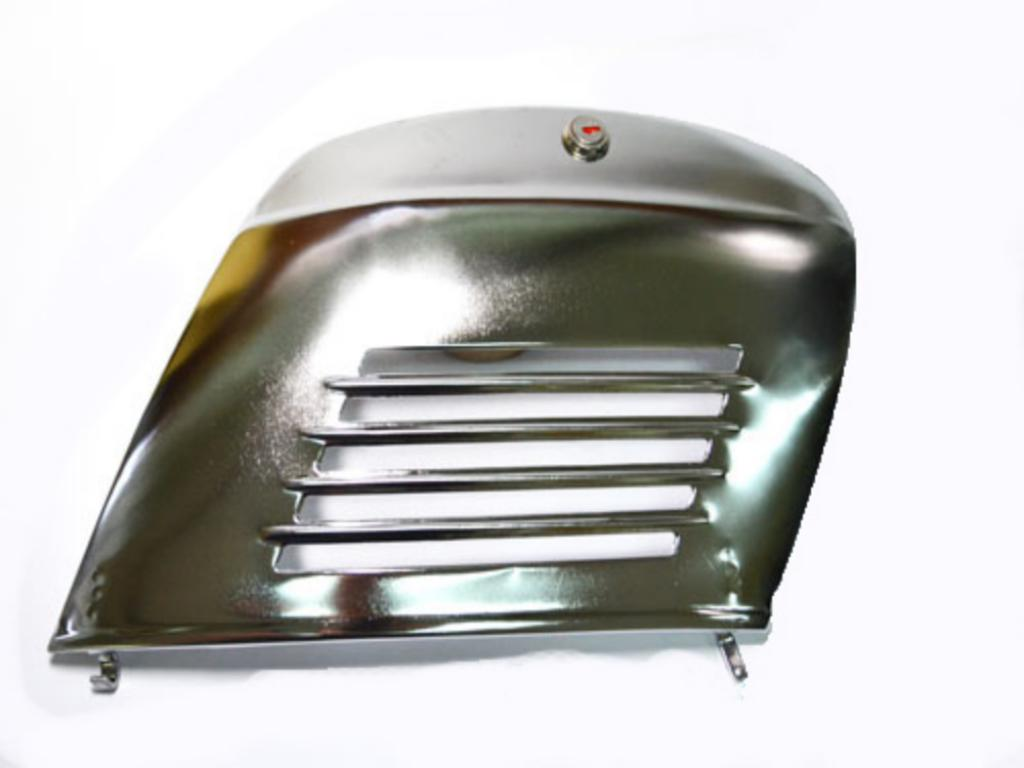 chromed engine compartment door with lock