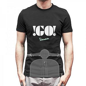 Go Vespa logo black t-shirt, for man